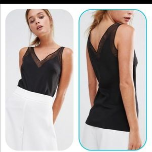 Ted Baker Leiaa Black Silk Mesh Trim Tank Top